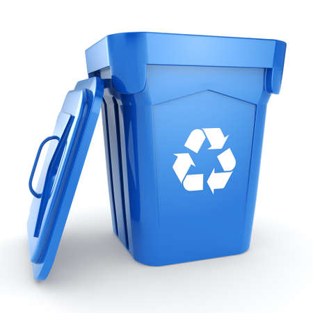 recycling bin: 3D rendering Blue Recycling Bin isolated on white background