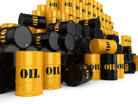 3D rendering Black metal oil barrels on white background