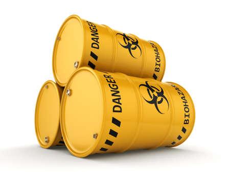 environmental hazard: 3D rendering yellow barrels with biologically hazardous materials