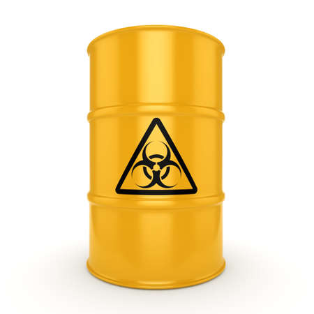environmental disaster: 3D rendering yellow barrel with biologically hazardous materials Stock Photo