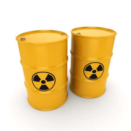 barrel radioactive waste: 3D rendering yellow barrels with radioactive materials Stock Photo
