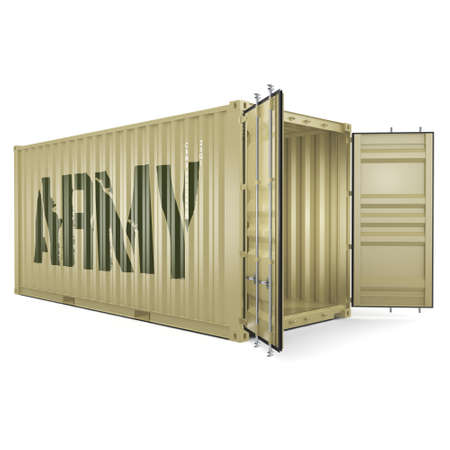 labeled: 3D rendering ship khaki container labeled Army