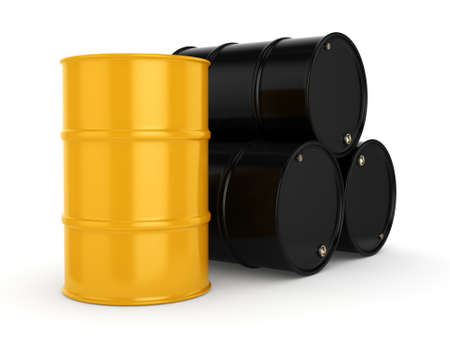 contain: 3D rendering black and yellow barrels not contain any inscriptions