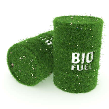 hydrocarbon: 3D rendering barrels covered with green grass with biofuels