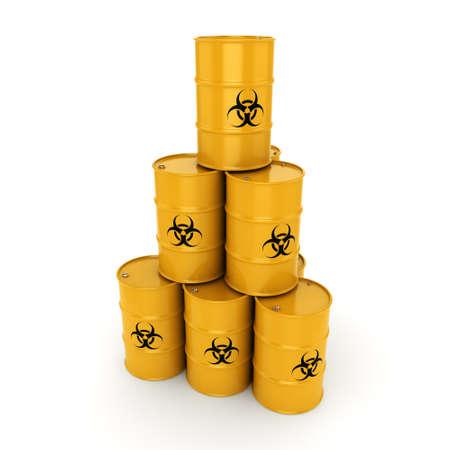 3D rendering yellow barrels with biologically hazardous materials
