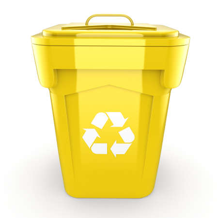 environmentalist: 3D rendering Yellow Recycling Bin isolated on white background