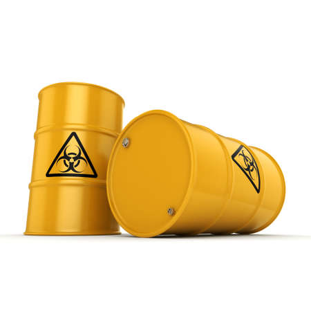poison symbol: 3D rendering yellow barrels with biologically hazardous materials