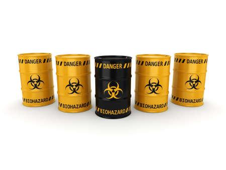 environmental hazard: 3D rendering yellow and black barrels with biologically hazardous materials