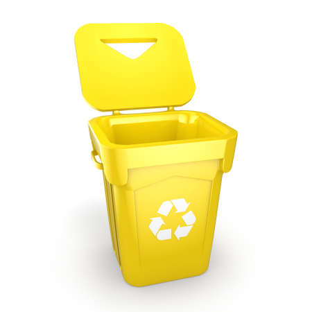 wastebasket: 3D rendering Yellow Recycling Bin isolated on white background