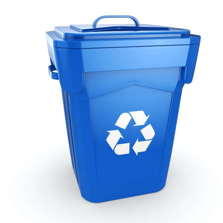 environmentalist: 3D rendering Blue Recycling Bin isolated on white background