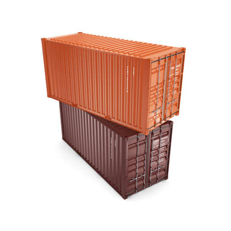 merchandize: 3D rendering the ship a containers on a white background on a white background