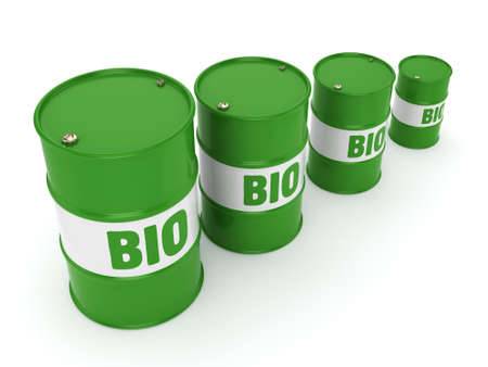 bio diesel: 3D rendering green barrels for biofuels with lettering Stock Photo