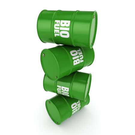 bio diesel: 3D rendering green barrels for biofuels with white lettering