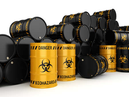 trash danger: 3D rendering yellow and black barrels with biologically hazardous materials