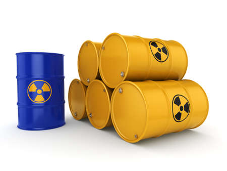 toxic substance: 3D rendering yellow and blue barrels with radioactive materials