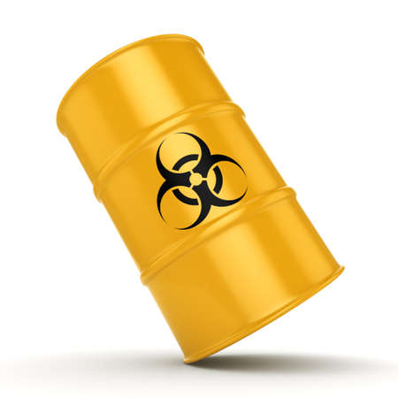 toxic substance: 3D rendering yellow barrel with biologically hazardous materials Stock Photo
