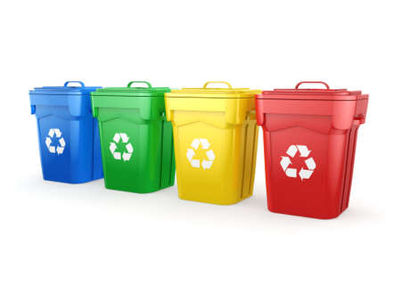 wastebasket: 3D rendering Multicolor  recycling isolated bins on white background
