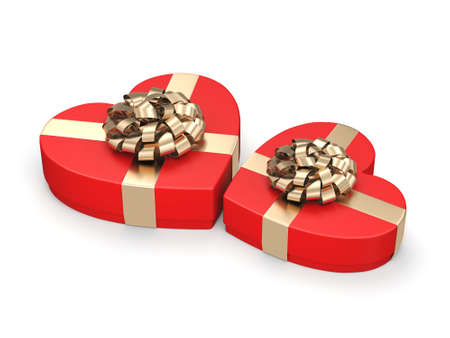 3D rendering Red boxes with heart shaped gold ribbon