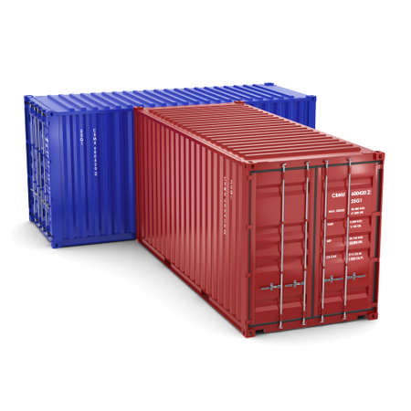 merchandize: 3D rendering ship containers on a white background
