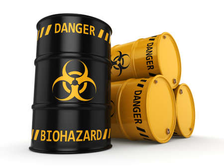 hazardous waste: 3D rendering yellow and black barrels with biologically hazardous materials