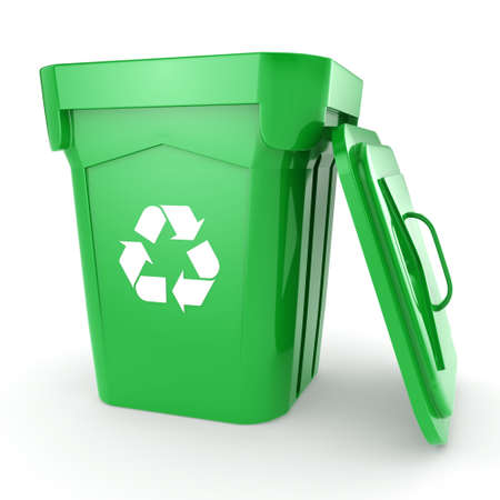 3D rendering Green recycling bin isolated on white background Stock Photo