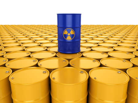 uranium: 3D rendering yellow  and blue barrels with radioactive materials