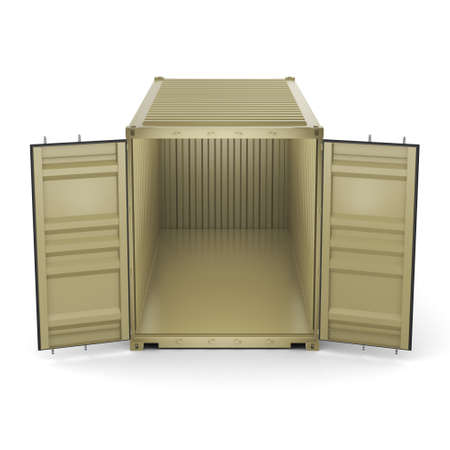 merchandize: 3D rendering ship container on a white background