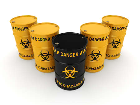 waste heap: 3D rendering yellow and black barrels with biologically hazardous materials