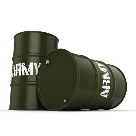 fleet: 3D rendering several army khaki barrels with the inscription