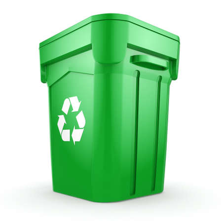 wastebasket: 3D rendering Green recycling bin isolated on white background Stock Photo