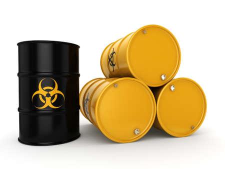 hazardous substances: 3D rendering yellow barrels with biologically hazardous materials