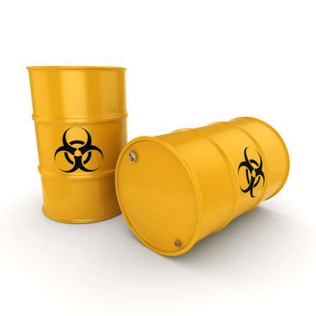 lethal: 3D rendering yellow barrels with biologically hazardous materials