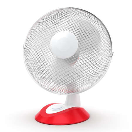 prop: 3D rendering table fan on a white background