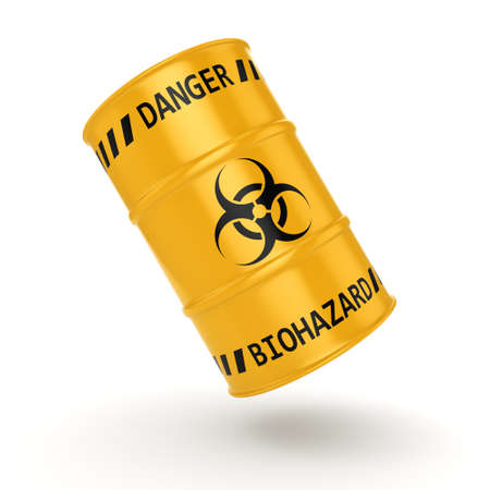 hazardous waste: 3D rendering yellow barrel with biologically hazardous materials Stock Photo