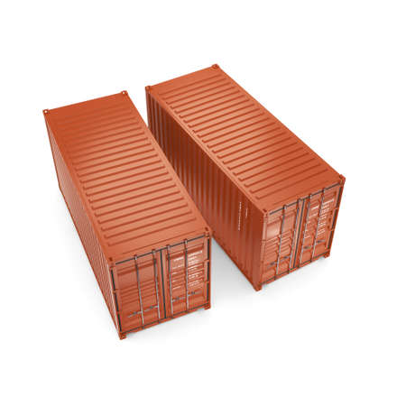 merchandize: 3D rendering ship containers on a white background on a white background Stock Photo