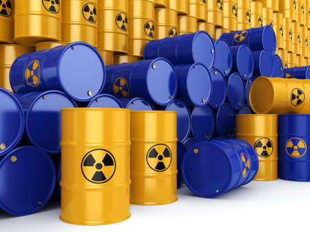 chemical material: 3D rendering yellow  and blue barrels with radioactive materials