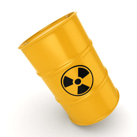 3D rendering yellow barrel with radioactive materials Stock Photo