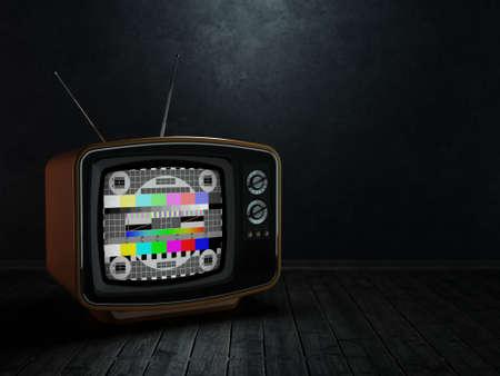 3D rendering retro TV on a dark background
