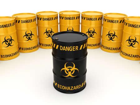hazardous substances: 3D rendering yellow and black barrels with biologically hazardous materials