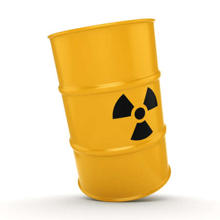 3D rendering yellow barrel with radioactive materials Stock Photo