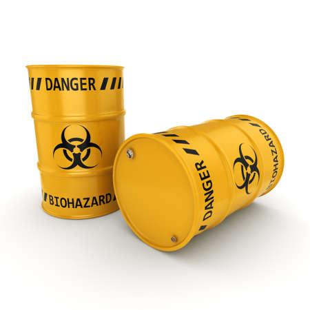 hazardous waste: 3D rendering yellow barrels with biologically hazardous materials