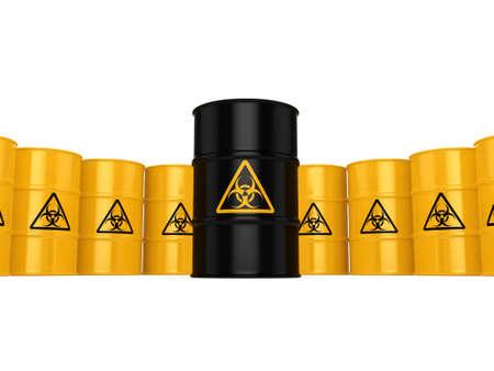 hazardous to the environment: 3D rendering yellow barrels with biologically hazardous materials