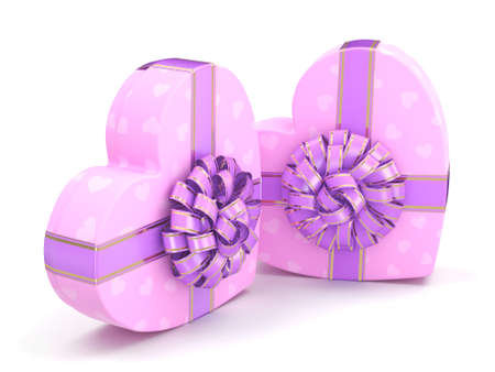 fourteenth: 3D rendering Pink boxes with heart shaped purple ribbon