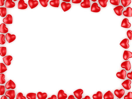 3D rendering frame of beautiful red hearts Stock Photo