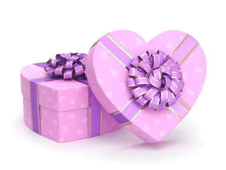 3D rendering Pink boxes with heart shaped purple ribbon