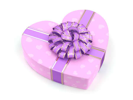 fourteenth: 3D rendering Pink boxe with heart shaped purple ribbon