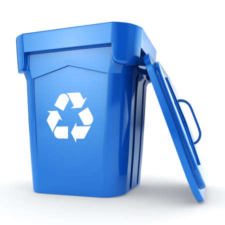 3D rendering Blue Recycling Bin isolated on white background