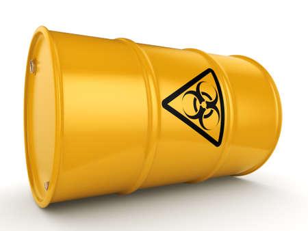 utilization: 3D rendering yellow barrel with biologically hazardous materials Stock Photo