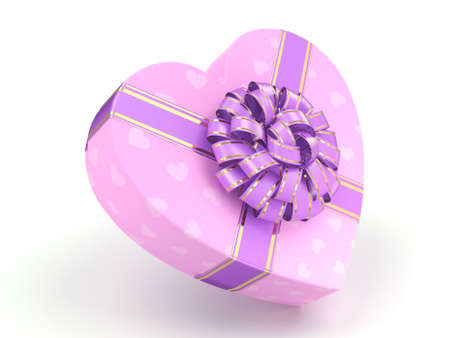 3D rendering Pink boxe with heart shaped purple ribbon