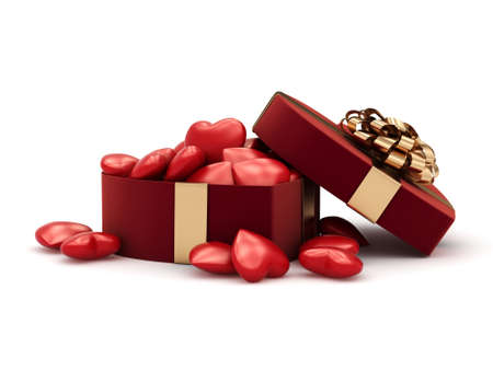 3D rendering red box in heart shape